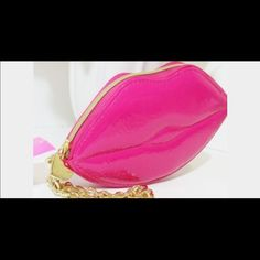 Fuchsia Lips Wristlet Fun patent leather Wristlet in a vibrant fuchsia color. Actual color in first pic. Perfect for Valentines Day NWT. Namaste Betsey Johnson Bags Clutches & Wristlets