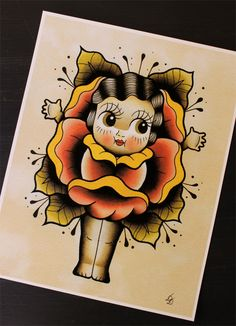 "Joanna the Flapper Kewpie 11""x14"" Tattoo Flash Print (Other sizes available) by Yukittenme on Etsy https://www.etsy.com/listing/208460189/joanna-the-flapper-kewpie-11x14-tattoo"