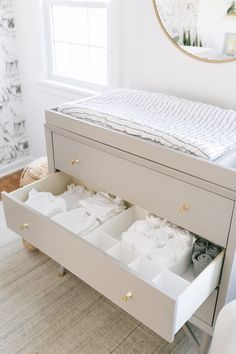 Nursery Organization 101 Nursery drawer Organization to keep everything in its place Baby Boy Rooms, Baby Boy Nurseries, Kids Rooms, Baby Boy Bedding, Room Baby, Baby Crib, Baby Room Grey, Baby Baby, White Kids Room