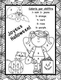 Free printable halloween worksheet for kids Halloween Color By Number, Theme Halloween, Halloween Math, Halloween Activities, Halloween Poems, Halloween Worksheets, Worksheets For Kids, In Kindergarten, Kindergarten Worksheets