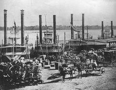 Crowded St. Louis landing in 1853
