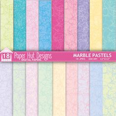 Marble Digital Papers-Pastels and Brights by PaperHutDesigns