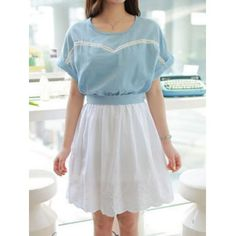 Casual Style Scoop Collar Embroidery Waist Corset Short Sleeve Women's Dress