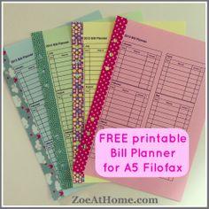 Free printable PDF bill budget planner for A5 Filofax ZoeAtHome.com