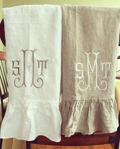 Shirley Embroidery Font.  Cute idea to add a ruffle to a flour sack towel.