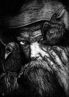 Odin. Hugin and Munin his faithful Raven