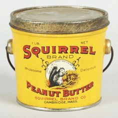 Squirrel Peanut Butter Pail with Handle. Vintage Candy, Vintage Tins, Vintage Antiques, Vintage Food, Antique Signs, Antique Tools, Tin Can Alley, Spice Tins, Antique Chest