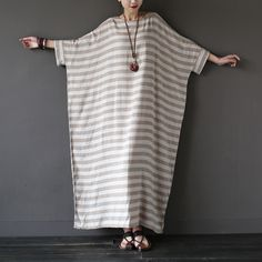 FREE SHIPPING WORLDWIDE!! Delivery Duration: 2-3 weeks Material: Linen,Cotton Dresses Length: Ankle-Length Style: Casual Brand Name: SCUWLINEN Silhouette: Loose Decoration: Pockets Pattern Type: Striped Sleeve Length(cm): Half Neckline: O-Neck Sleeve Style: Batwing Sleeve Waistline: Natural Front fly: pullover Waist type: loose-waisted