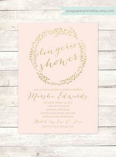 pink gold lingerie shower invitation printable pink gold glitter wreath wedding shower bridal shower digital invite customizable