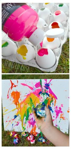 Tossing paint filled eggs at canvas- SO FUN! I love this exciting idea :-)