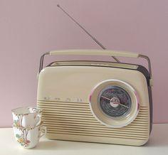 Retro Radio and vintage teacups in our studio by freudianslipsvintage, via Flickr