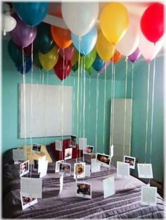 such a cute idea for decorations! instax film tied to helium balloons!