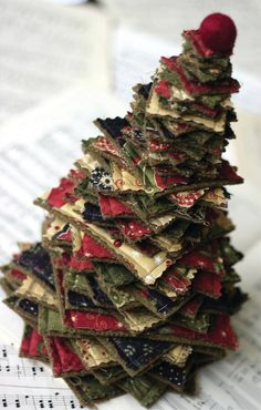 A Tiny Tree Sewing Pattern from Pieces from my Heart, Sandy Gervais' Merry Medley fabric collection for Moda Christmas Sewing, Noel Christmas, All Things Christmas, Christmas Wreaths, Christmas Decorations, Christmas Quilting, Christmas Projects, Holiday Crafts, Christmas Fabric Crafts