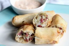 Reuben Eggrolls. Just need some gluten-free spring roll wrappers and this one will be good to go!