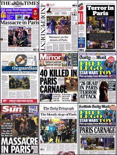 """""""Bloedbad in Parijs"""" - de voorpagina's op een rij - NRC"""