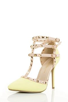 Wild Diva Womens Pointed Toe TStrap Spike Stud Stiletto High Heel Single Sole Sandal Pump 6 Neon Yellow -- Click image to review more details.