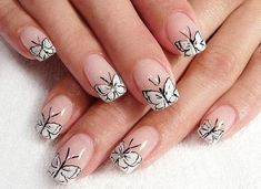 This butterfly inspired nail art is simply cute and easy to recreate. The uniform design makes it easier for you to follow on your own nails. All you need is black and white nail polish and paint the butterflies as a French tip, using white as your background polish and black as the lining on top to detail the butterfly.