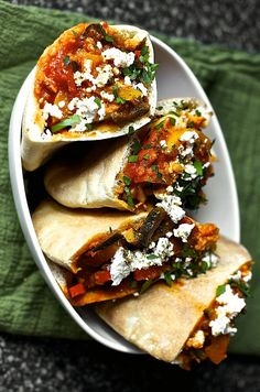 Three Pepper Shakshuka Pita with Feta and Za'atar