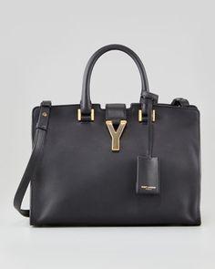Y-Ligne Cabas Mini Leather  Bag, Black by Saint Laurent at Neiman Marcus.