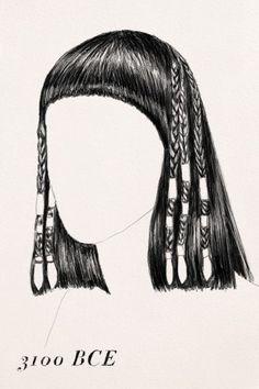 Trança egípcia, 3.100 ante de Cristo.  Os egípcios renegavam os pelos do corpo, mas adoravam seu cabelo. As tranças além de bonitas acalmavam os egípcios do calor e mantinham os piolhos longe.