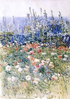 Beryl look at the pond by Childe Hassam Giclee Fine ArtPrint Repro on Canvas
