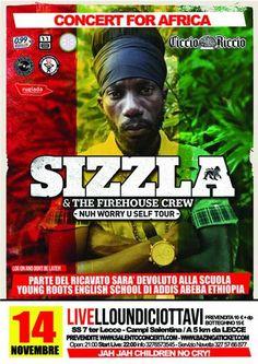 """http://www.mynd-magazine.it/appuntamenti/details/175-sizzla--kalonji-concerto-per-lafrica.html Grande concerto di musica reggae al Livello Undiciottavi di Trepuzzi (LE) venerdì 14 novembre. La """"Casa della Musica"""" è pronta ad accogliere ancora una volta un vero fuoriclasse: Sizzla. INFO: LIVELLO UNDICIOTTAVI. SS 7 TER LECCE – CAMPI SALENTINA KM 5 - Infoline : + 39 392 3021461 - Biglietto: 10 euro + d.p."""