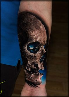 http://tattooideas247.com/awesome-skull/ Realistic Skull #ArmInk, #Blue, #Forearm, #PavelRoch, #Realism, #Realistic, #Scary, #Skull