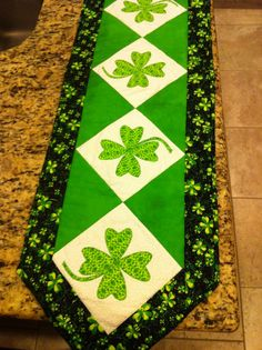 St. Patrick's Day Shamrock Table Runner- by Patti Carey designs