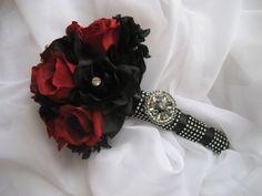 Gothic Wedding Bouquet / Red and Black Boquet. $75.00, via Etsy.