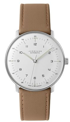 online shopping for Junghans Men's Max Bill Stainless Steel Quartz Watch Leather Calfskin Strap, Beige, 20 (Model: from top store. See new offer for Junghans Men's Max Bill Stainless Steel Quartz Watch Leather Calfskin Strap, Beige, 20 (Model: Max Bill, Cool Watches, Watches For Men, Stylish Watches, Luxury Watches, Bauhaus Watch, Junghans, Timex Watches, Men's Watches