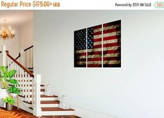 FALL SALE Patriotic 3 panel US flag canvas wall art