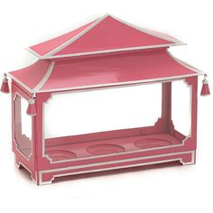 Large Pink and White Rectangular Pagoda Chinoiserie, Accent Pieces, Lanterns, Gazebo, Candle Holders, Hand Painted, Outdoor Structures, Candles, Pink