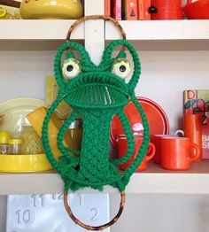 Vintage green macrame frog wall hanging on Etsy, $25.00