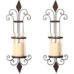 Asense Iron and Glass Vertical Wall Hanging Candle Holder Sconce Wall Decor for Living Room, Bedroom (Set of 2) Asense Pillar Candle Holders, Candle Set, Pillar Candles, Hanging Candles, Candle Wall Sconces, Diamond Design, Iron, Glass, Living Room