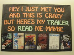 Teen Scene: *NEW* Book Trailer Display at a public library -- easily duplicated for classroom Bring along your smart device and you will be able to scan each book's QR code to view some awesome book book cover Library Book Displays, Library Books, New Books, Library Ideas, Library Themes, Library Decorations, Library Bulletin Boards, Bulletin Board Display, Teen Library