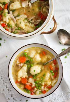 Potato Dumplings German, German Potatoes, Dumplings For Soup, Chicken And Dumplings, Potato Vegetable, Soup Recipes, Cooking Recipes, Yummy Recipes