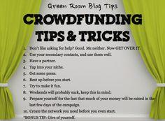 Crowdfunding tips & tricks via GreenRoomBlog.com. #crowdfunding #crowdfund #theatre #fundraiser