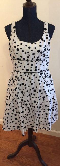 Dress Barn Collection Black & White Polka Dot Dress Size 14 Fit & Flare Pockets #DressBarn