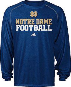 e097d3a4869 Notre Dame Fighting Irish Adidas Heather Blue Long Sleeve Climalite  Football Shirt Notre Dame Gear