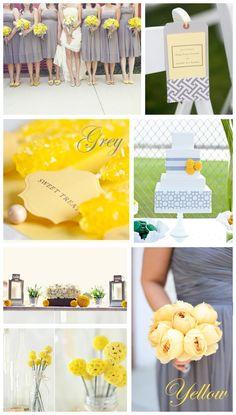 Grey & Yellow: Wedding Inspiration - Want Yellow Grey Weddings, Gray Weddings, Yellow Wedding, Unique Weddings, Wedding Colors, Wedding Flowers, Wedding Unique, Wedding Blog, Diy Wedding