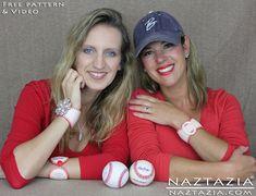 DIY Free Pattern Baseball Cuff Bracelet Leather Baseballs Bracelets with YouTube Video by Naztazia