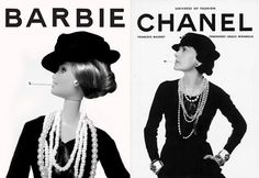 """Fine Art Barbie: Iconic image of Gabrielle  """"Coco"""" Chanel for François Baudot's book Mémoire de la Mode. For Barbie's 50th anniversary, Jocelyn Grivaud presents a homage to famous works of art, posters and even pop icons reinterpreted by the famous doll."""