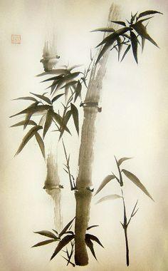 Japanese Ink Painting, Japan Painting, Chinese Painting, Chinese Art, Landscape Art, Landscape Paintings, Paint Brush Art, Bamboo Tattoo, Lotus Art