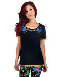 35 Pom Pom T-Shirt - Mexican Embroidery