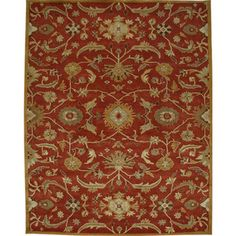 @Overstock - Hand tufted in wool, this rug features a beautiful design with a plush pile. Colors of red and gold accent this area rug.http://www.overstock.com/Home-Garden/Planta-Hand-tufted-Red-Wool-Rug-5-x-8/6277590/product.html?CID=214117 $193.49