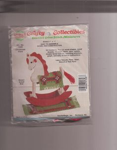 NeedleMagic Crafty Collectibles Counted Cross Stitch Kit Christmas Plaid Rocking #NeedleMagicInc #Miniatures