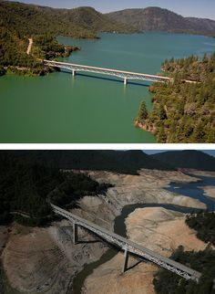 (Top) The Enterprise Bridge stretches over full water levels at a section of Lake Oroville in July 2011 in Oroville, Calif. (Bottom) The same view in a photo taken this summer, after three years of drought.
