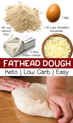 Quick & Easy Fathead Dough Recipe: Looking for easy keto recipes? This low carb pizza crust is made with just 4 simple ingredients! It's perfect for a quick and easy lunch, dinner or weeknight meal. This keto pizza dough is gluten free, keto friendly, and Low Carb Pizza, Low Carb Keto, Diet Pizza, Pizza Pizza, Zero Carb Diet, Keto Carbs, High Protein Low Carb, Cetogenic Diet, Diet Foods