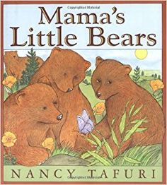 ages 2-5.  written and illustrated by Nancy Tafuri.  Three bear cubs are celebrating the new spring season with Mama teaching them how to fish.  They quickly decide to explore the forest around them.  With simple text and  Tafuri's soft watercolors the bears learn of the animals that also live in the forest with them.  Beautifully written and illustrated as are all Tafuri's animal stories.