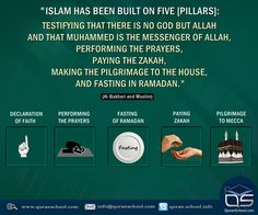 """Islam has been built on five [#pillars]: testifying that there is no god but #Allah and that #Muhammad is the Messenger of Allah, performing the #prayers, paying the #zakah, making the #pilgrimage to the House, and #fasting in #Ramadan."" (Al-#Bukhari and #Muslim) http://goo.gl/KIXJLH"